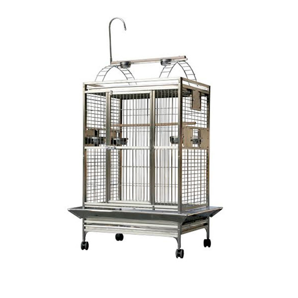 A stainless steel cage